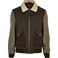 Khaki colour block wool-blend bomber jacket
