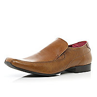 Light brown square toe slip on shoes