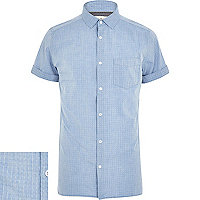 Blue chambray ditsy print short sleeve shirt