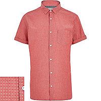 Red chambray ditsy print short sleeve shirt