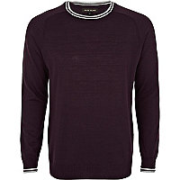 Purple contrast trim crew neck jumper