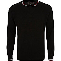 Black contrast trim crew neck jumper