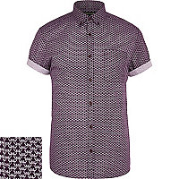 Purple geometric print short sleeve shirt
