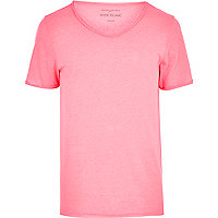 Fluro pink low scoop t-shirt