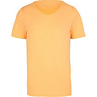 Fluro orange low scoop t-shirt