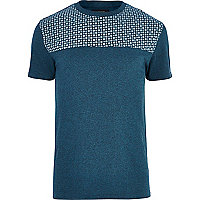 Teal tile print yoke t-shirt