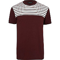 Dark red breton stripe yoke t-shirt