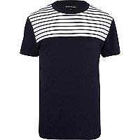 Navy breton stripe yoke t-shirt