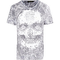 White Paris map skull print t-shirt