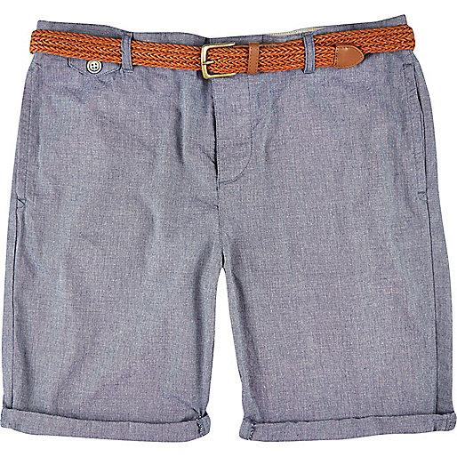 Blue plaited belt turn up shorts