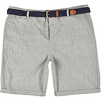 Stone plaited belt turn up shorts