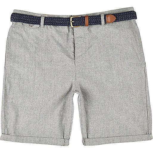 Stone plaited belt turn up shorts