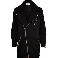 Black biker parka jacket