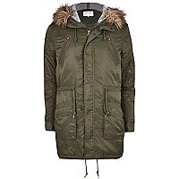 Khaki faux fur trim parka jacket