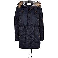 Navy blue faux fur trim parka jacket