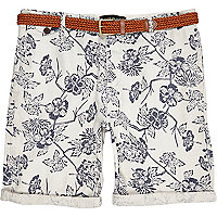 Ecru floral print turn up shorts