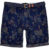 Navy floral jacquard turn up shorts