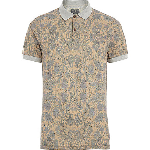 Grey Holloway Road floral neppy polo shirt