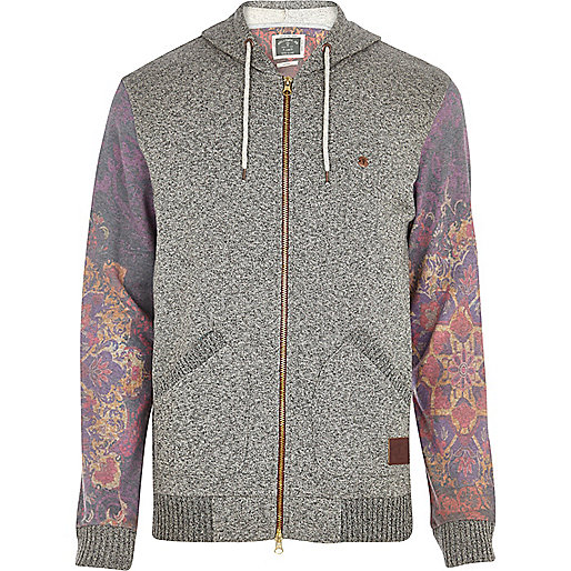 Grey Holloway Road floral sleeve hoodie