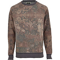 Brown Holloway Road oil wash print sweatshirt