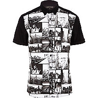 Black New York collage print shirt