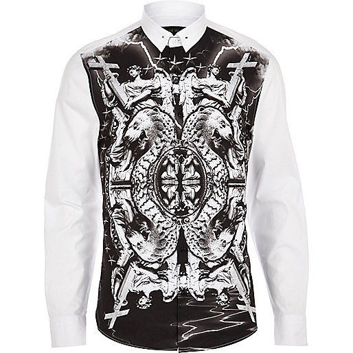 White abstract statue print shirt