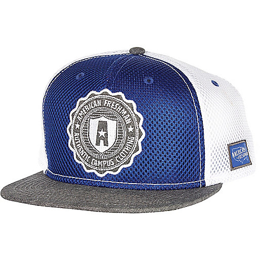 Blue American Freshman mesh panel trucker hat