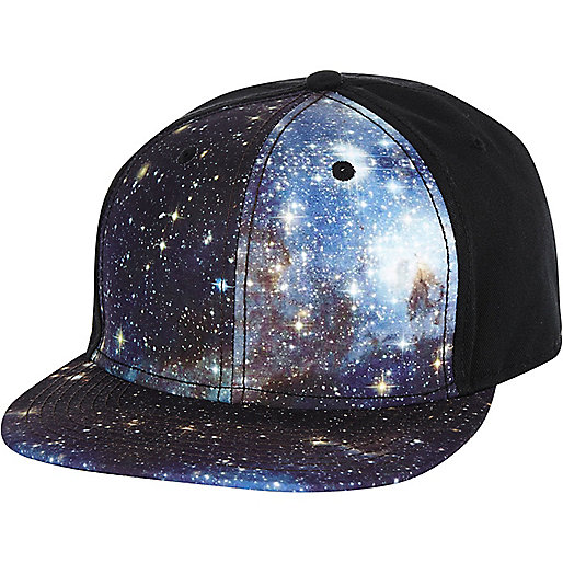 Black cosmic print trucker hat