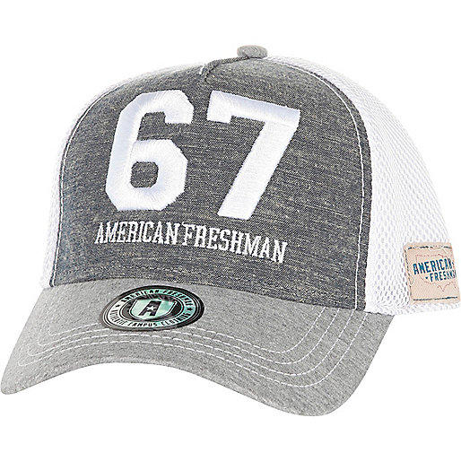 Blue American Freshman chambray trucker hat