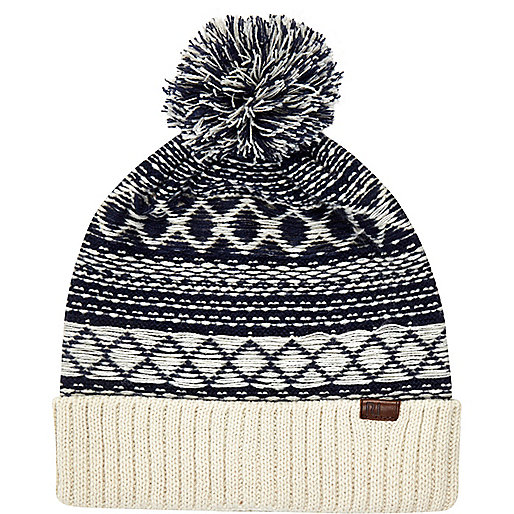Navy reverse stitch beanie hat