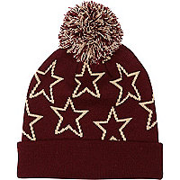 Dark red star print bobble beanie hat