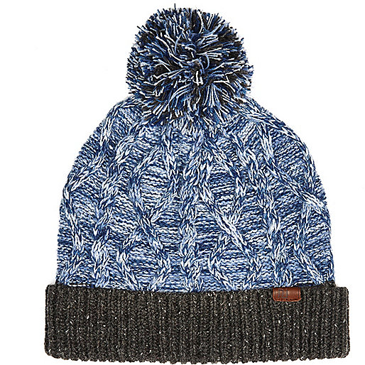 Blue twist knit cable beanie hat