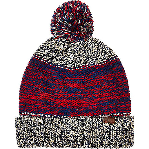 Red space dye colour block beanie hat