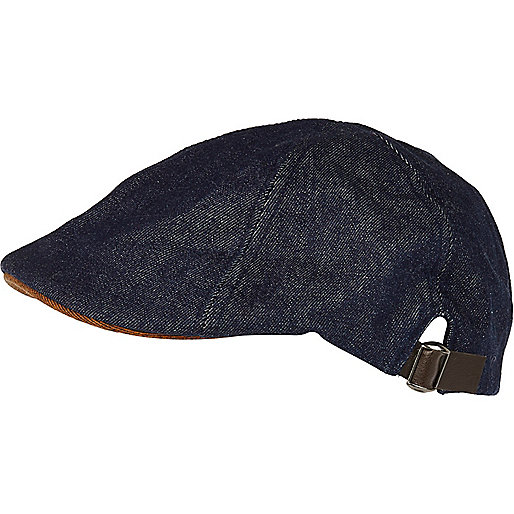 Blue denim flat cap