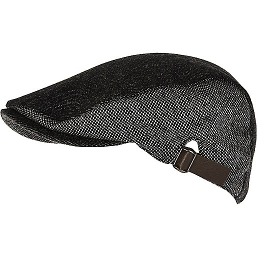 Grey colour block tweed flat cap