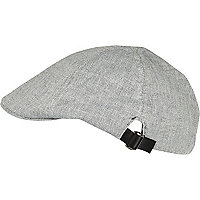 Light grey chambray flat cap