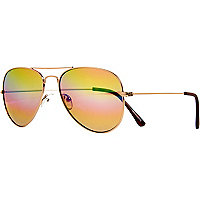 Gold tone metal aviator sunglasses