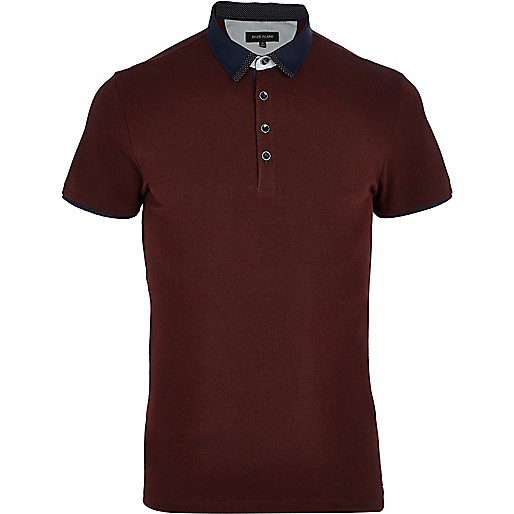 Dark red contrast collar polo shirt