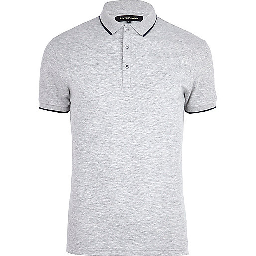 Grey marl contrast trim polo shirt