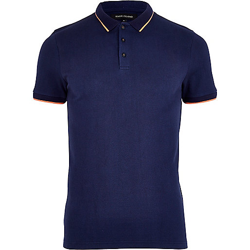 Navy contrast trim polo shirt