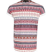 Dark red tribal stripe t-shirt