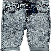 Light acid wash denim shorts