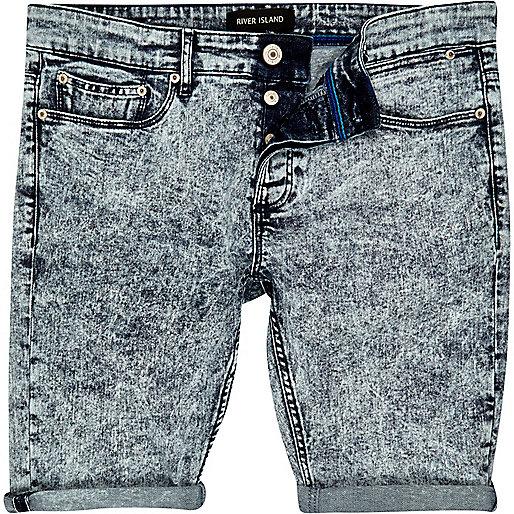 Light acid wash denim shorts