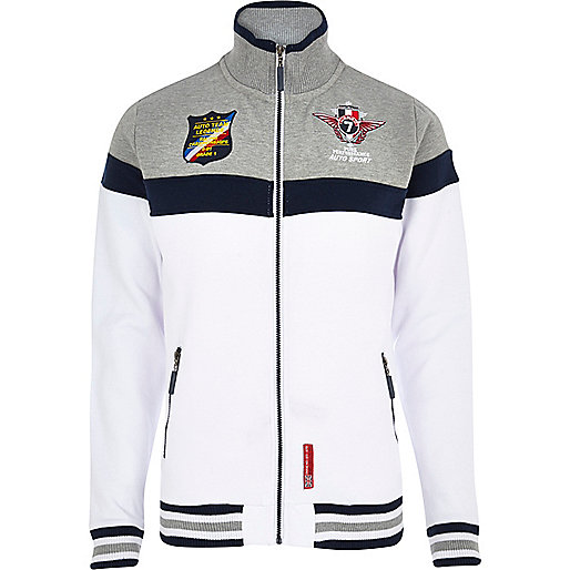 White racing badge track top