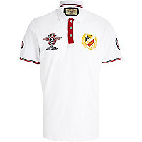 White auto sport badge polo shirt