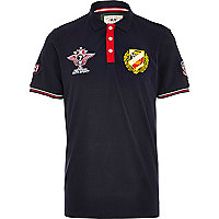 Navy auto sport badge polo shirt