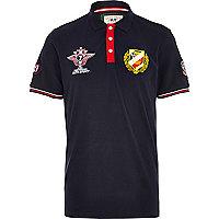 Navy auto sport badge polo shirt
