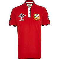 Red auto sport badge polo shirt