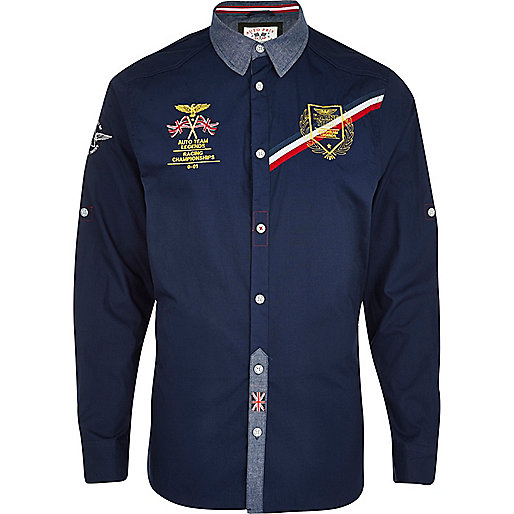 Navy Autoprix long sleeve shirt