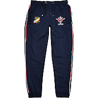 Navy racing badge joggers